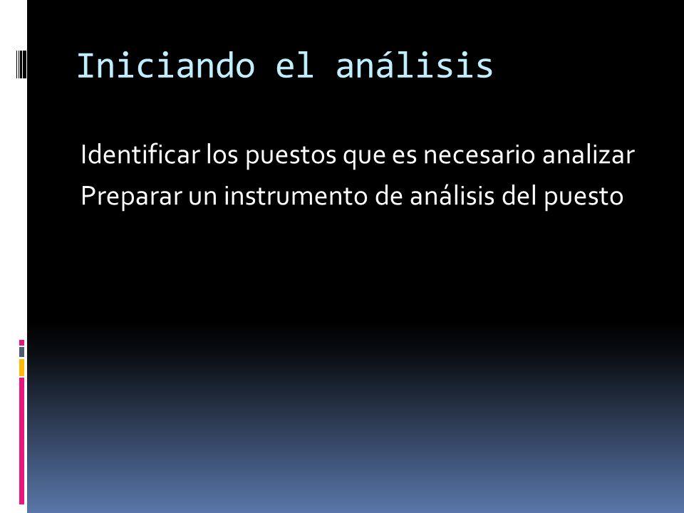 Iniciando el análisis Identificar los puestos que es necesario analizar Preparar un instrumento de análisis del puesto