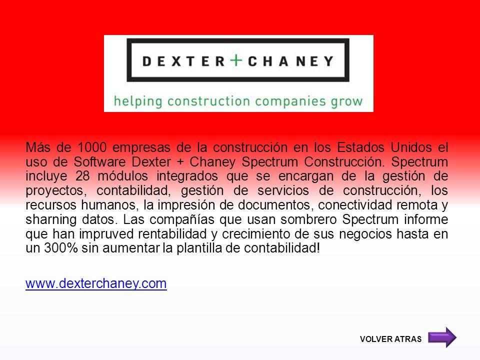 Más de 1000 empresas de la construcción en los Estados Unidos el uso de Software Dexter + Chaney Spectrum Construcción. Spectrum incluye 28 módulos in