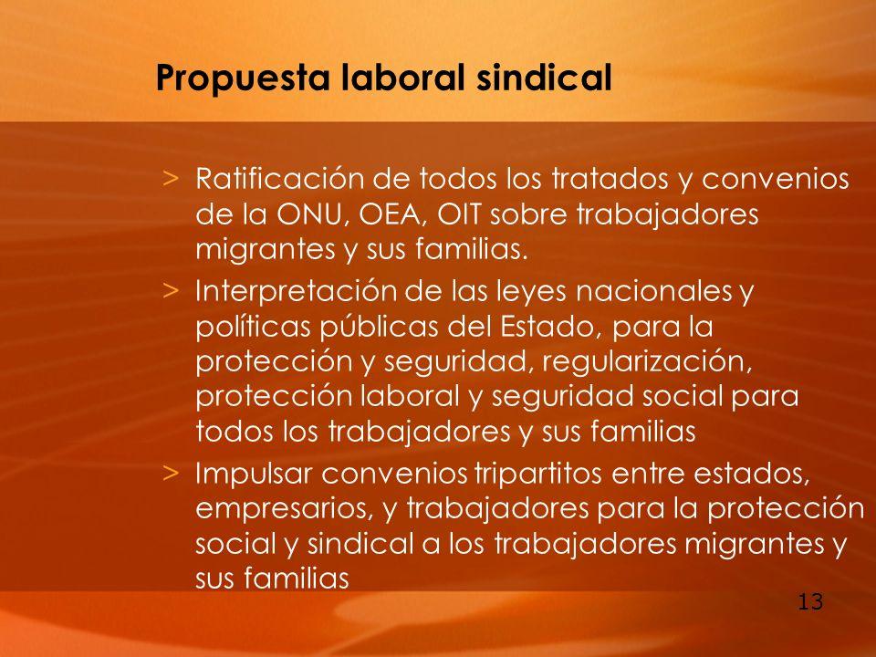 13 Propuesta laboral sindical >Ratificación de todos los tratados y convenios de la ONU, OEA, OIT sobre trabajadores migrantes y sus familias. >Interp
