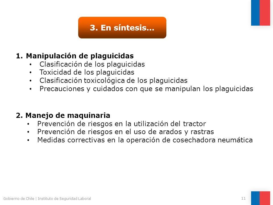Gobierno de Chile | Instituto de Seguridad Laboral 11 3. En síntesis… 1.Manipulación de plaguicidas Clasificación de los plaguicidas Toxicidad de los