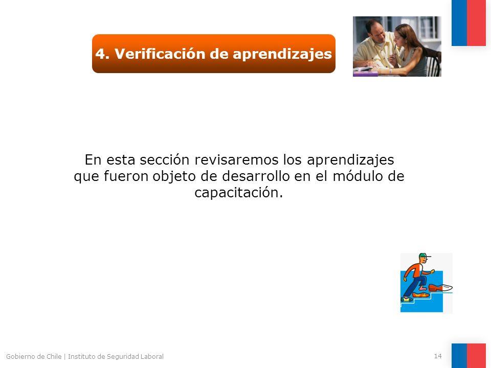 Gobierno de Chile | Instituto de Seguridad Laboral 14 4. Verificación de aprendizajes En esta sección revisaremos los aprendizajes que fueron objeto d