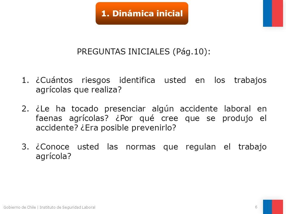 Gobierno de Chile | Instituto de Seguridad Laboral 6 1. Dinámica inicial PREGUNTAS INICIALES (Pág.10): 1.¿Cuántos riesgos identifica usted en los trab