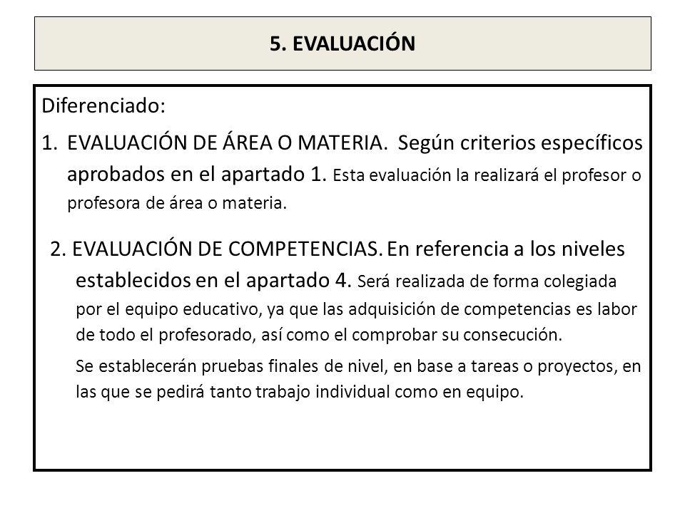 5. EVALUACIÓN Diferenciado: 1.EVALUACIÓN DE ÁREA O MATERIA. Según criterios específicos aprobados en el apartado 1. Esta evaluación la realizará el pr
