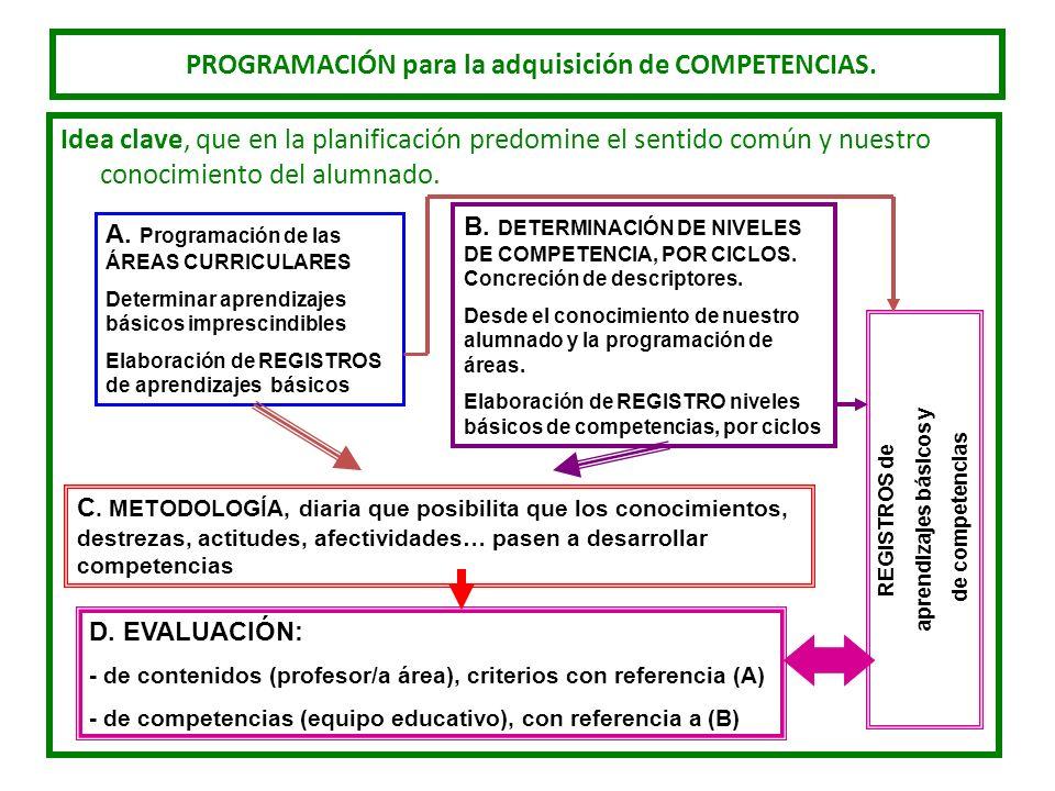 PROGRAMACIÓN para la adquisición de COMPETENCIAS. Idea clave, que en la planificación predomine el sentido común y nuestro conocimiento del alumnado.