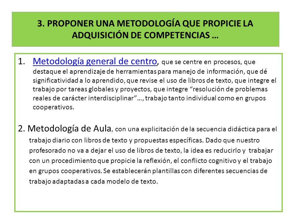 3. PROPONER UNA METODOLOGÍA QUE PROPICIE LA ADQUISICIÓN DE COMPETENCIAS … 1.Metodología general de centro, que se centre en procesos, que destaque el