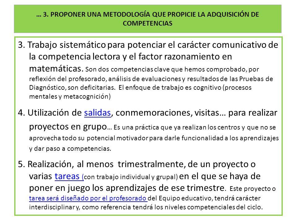 … 3. PROPONER UNA METODOLOGÍA QUE PROPICIE LA ADQUISICIÓN DE COMPETENCIAS 3. Trabajo sistemático para potenciar el carácter comunicativo de la compete
