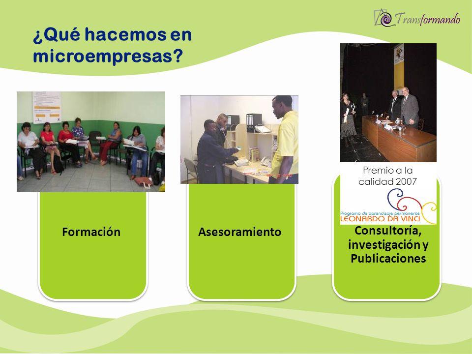 ¿Qué hacemos en microempresas? Formación Consultoría, investigación y Publicaciones Asesoramiento Premio a la calidad 2007