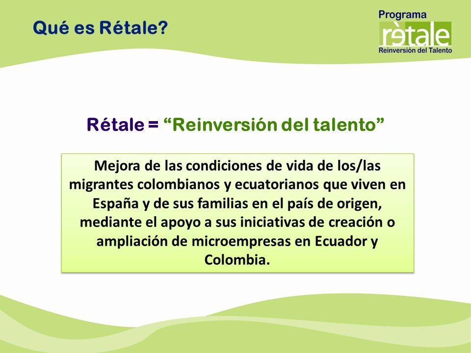 Qué es Rétale? Rétale = Reinversión del talento Mejora de las condiciones de vida de los/las migrantes colombianos y ecuatorianos que viven en España