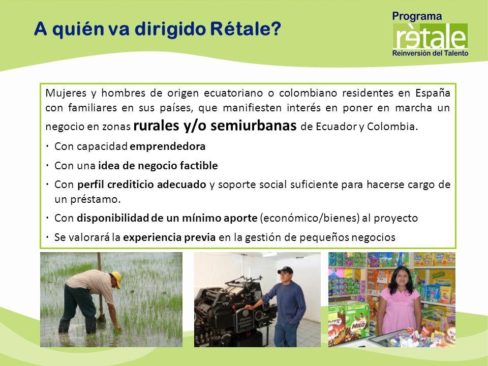 A quién va dirigido Rétale? Mujeres y hombres de origen ecuatoriano o colombiano residentes en España con familiares en sus países, que manifiesten in
