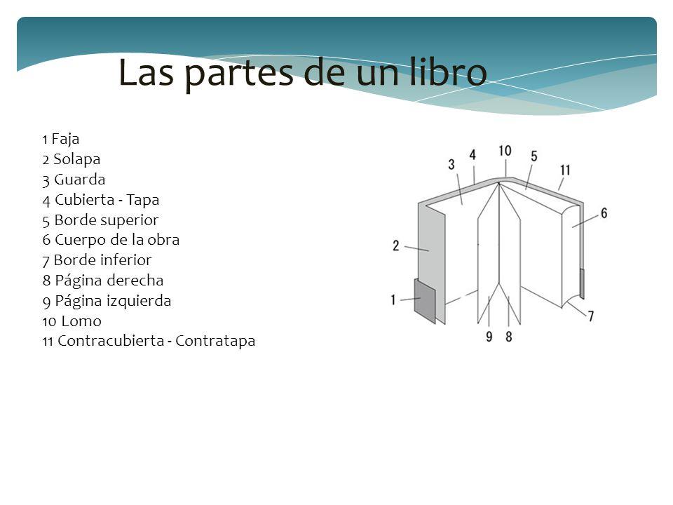 Las partes de un libro 1 Faja 2 Solapa 3 Guarda 4 Cubierta - Tapa 5 Borde superior 6 Cuerpo de la obra 7 Borde inferior 8 Página derecha 9 Página izqu