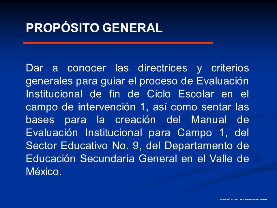 ESTRATEGIA DE EVALUACIÓN INSTITUCIONAL Orientaciones para la Evaluación Institucional Ámbito de Gestión Escolar Para la mejora de los aprendizajes Departamento de Educación Secundaria General en el Valle de México Sector Educativo 9 Gobierno del Estado de México Secretaría de Educación Servicios Educativos Integrados al Estado de México Dirección de Educación Secundaria y Servicios de Apoyo ELABORÓ: Dr.