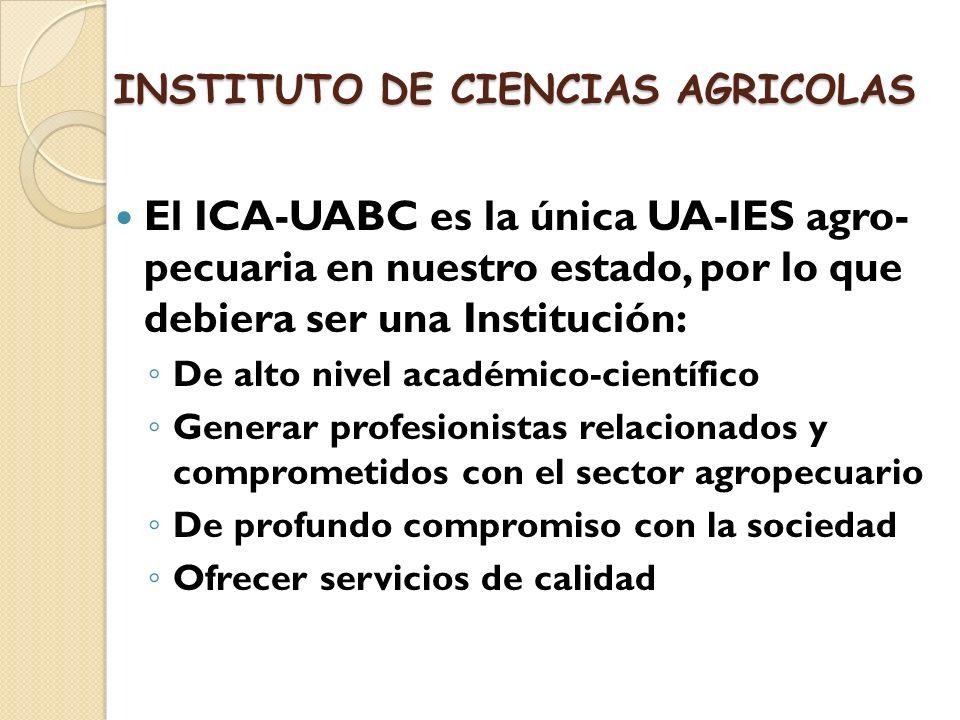 El ICA-UABC es la única UA-IES agro- pecuaria en nuestro estado, por lo que debiera ser una Institución: De alto nivel académico-científico Generar pr