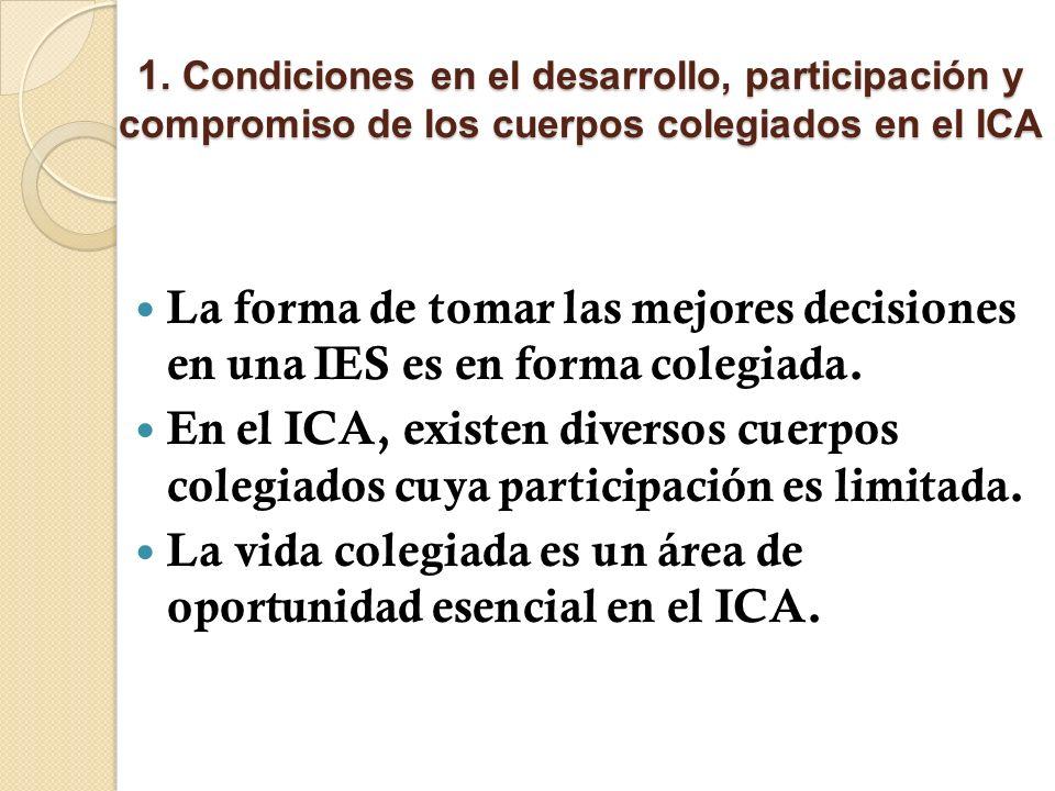 1. Condiciones en el desarrollo, participación y compromiso de los cuerpos colegiados en el ICA La forma de tomar las mejores decisiones en una IES es
