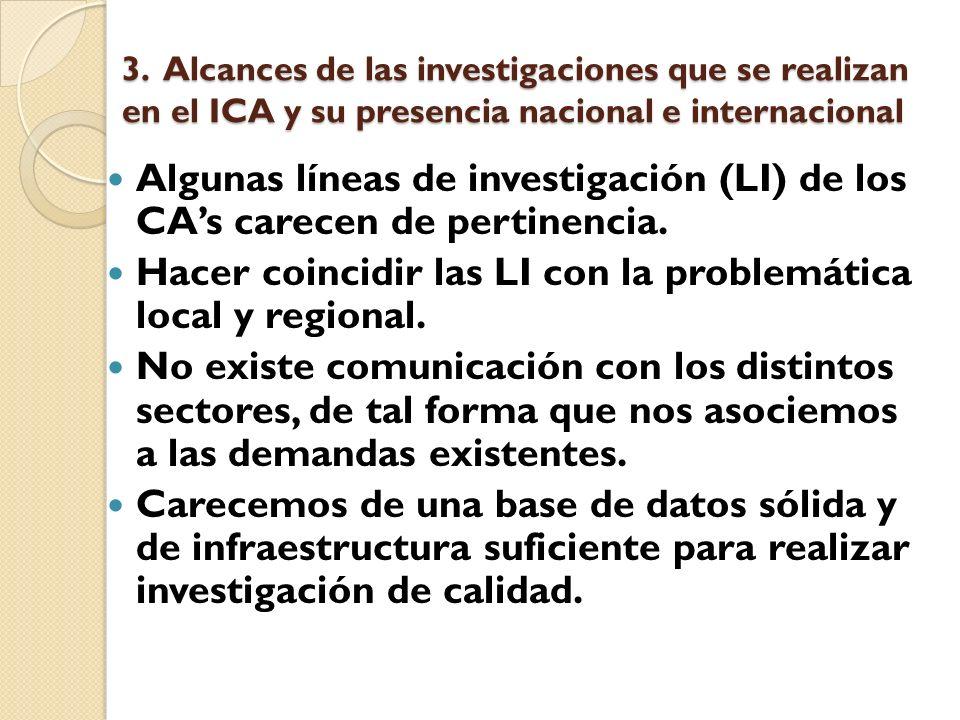 3. Alcances de las investigaciones que se realizan en el ICA y su presencia nacional e internacional Algunas líneas de investigación (LI) de los CAs c