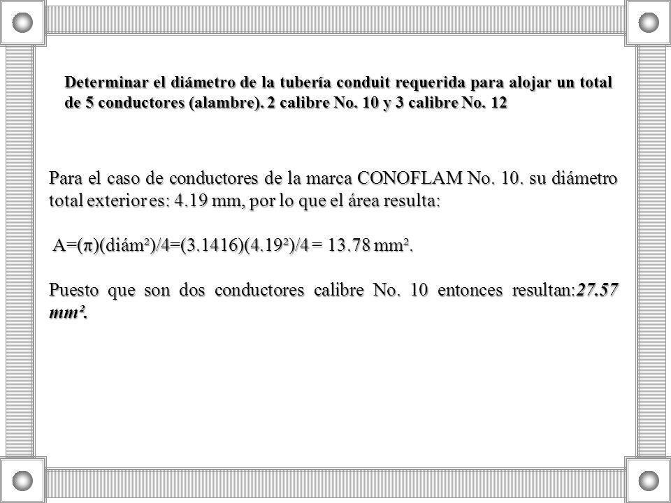 Determinar el diámetro de la tubería conduit requerida para alojar un total de 5 conductores (alambre). 2 calibre No. 10 y 3 calibre No. 12 Para el ca