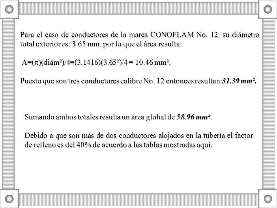 Para el caso de conductores de la marca CONOFLAM No. 12. su diámetro total exterior es: 3.65 mm, por lo que el área resulta: A=(π)(diám²)/4=(3.1416)(3