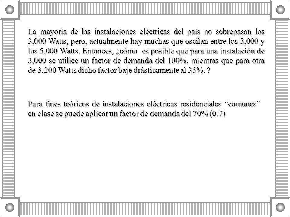 La mayoría de las instalaciones eléctricas del país no sobrepasan los 3,000 Watts, pero, actualmente hay muchas que oscilan entre los 3,000 y los 5,00