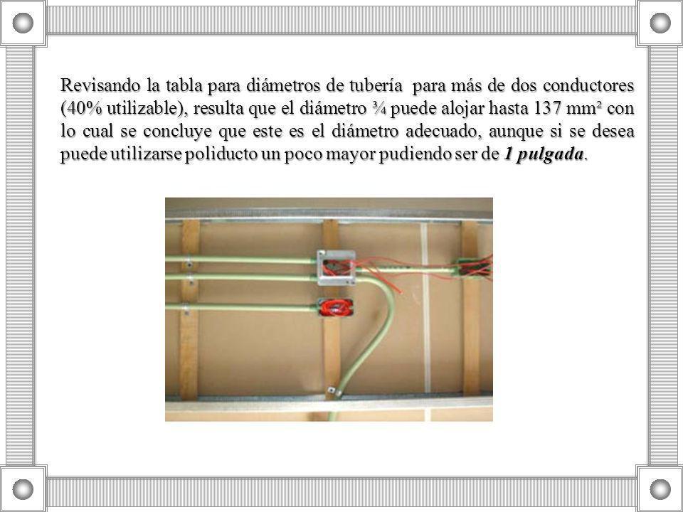 Revisando la tabla para diámetros de tubería para más de dos conductores (40% utilizable), resulta que el diámetro ¾ puede alojar hasta 137 mm² con lo