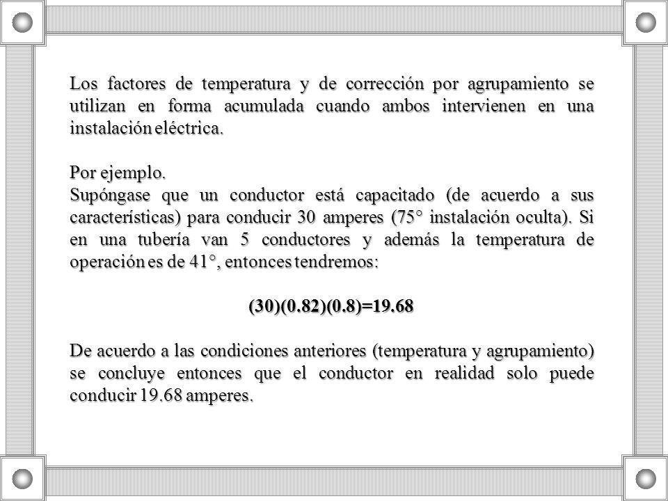 Los factores de temperatura y de corrección por agrupamiento se utilizan en forma acumulada cuando ambos intervienen en una instalación eléctrica. Por