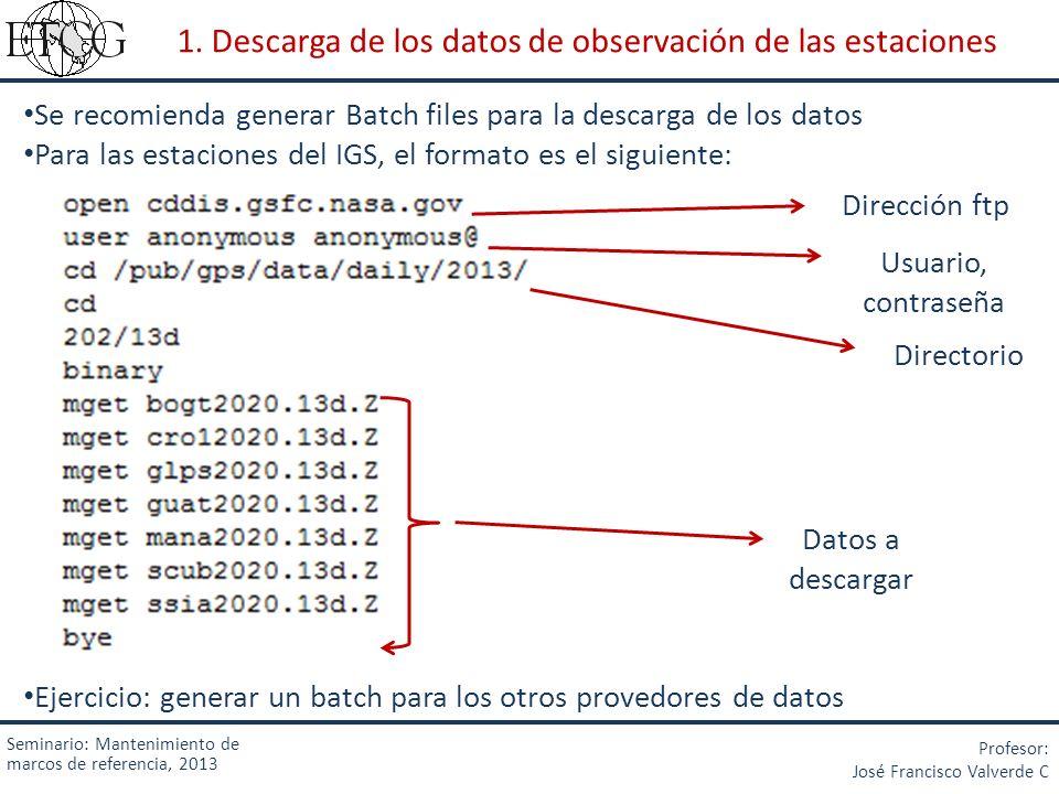 Seminario: Mantenimiento de marcos de referencia, 2013 Profesor: José Francisco Valverde C 1. Descarga de los datos de observación de las estaciones S