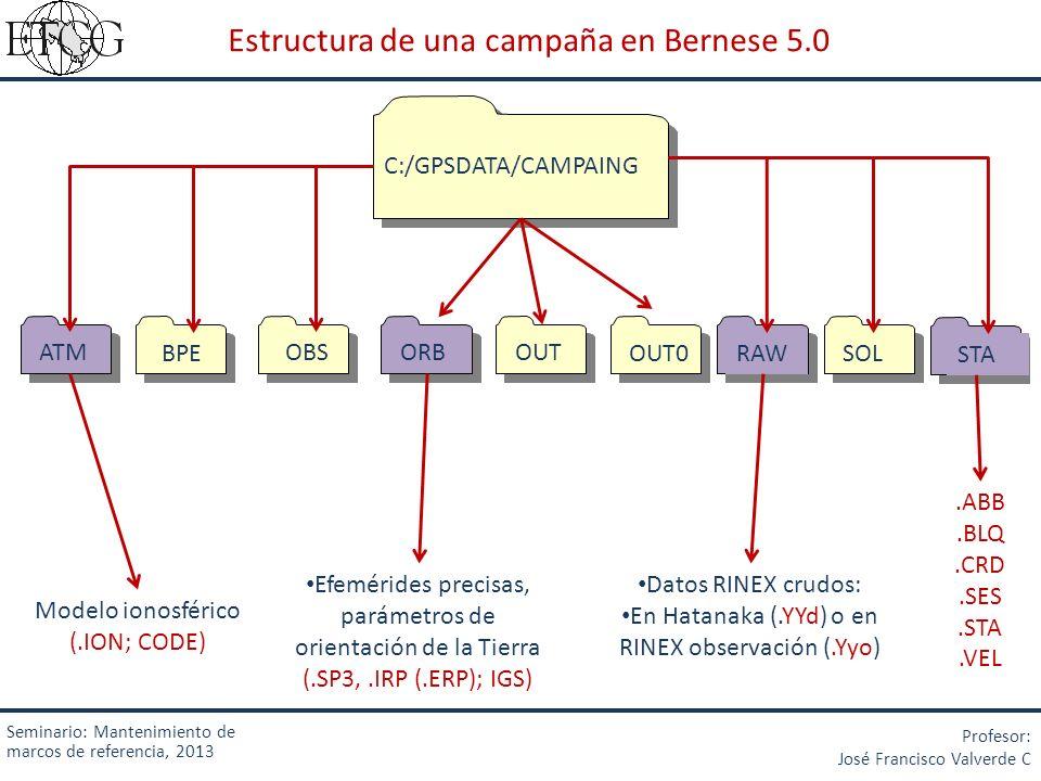 Seminario: Mantenimiento de marcos de referencia, 2013 Profesor: José Francisco Valverde C 1.2 Adecuación de los archivos de observación
