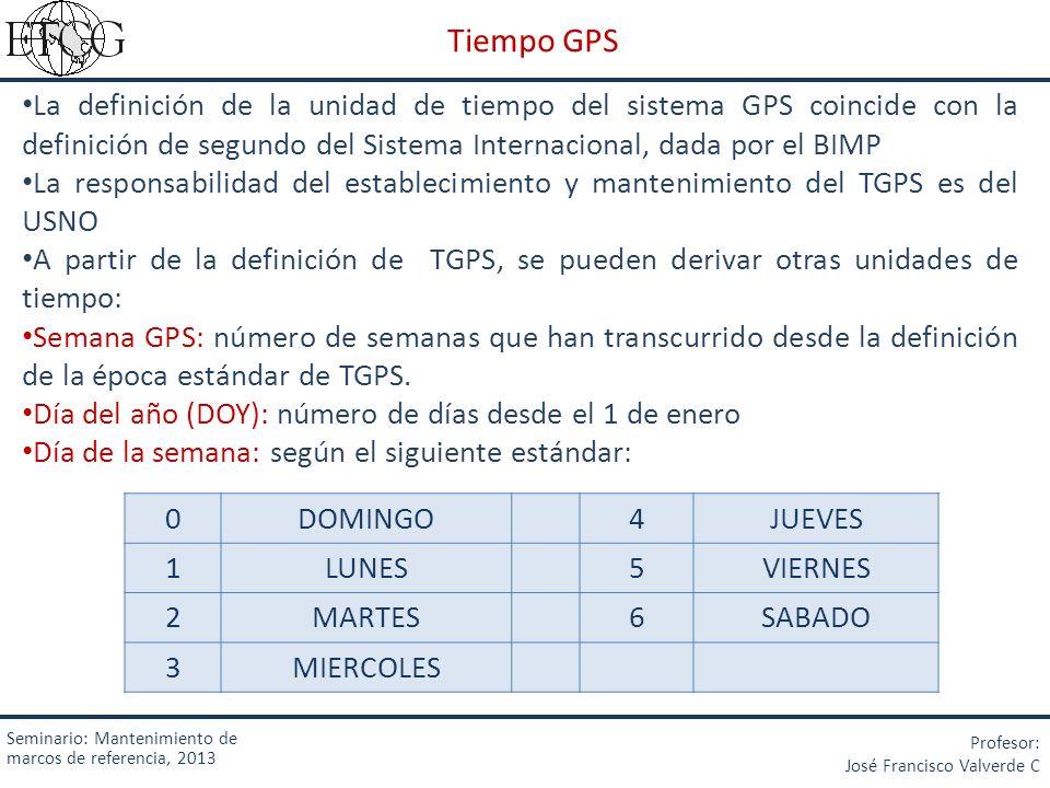 La definición de la unidad de tiempo del sistema GPS coincide con la definición de segundo del Sistema Internacional, dada por el BIMP La responsabili