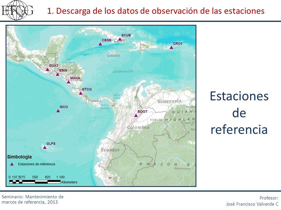 Seminario: Mantenimiento de marcos de referencia, 2013 Profesor: José Francisco Valverde C 1. Descarga de los datos de observación de las estaciones E