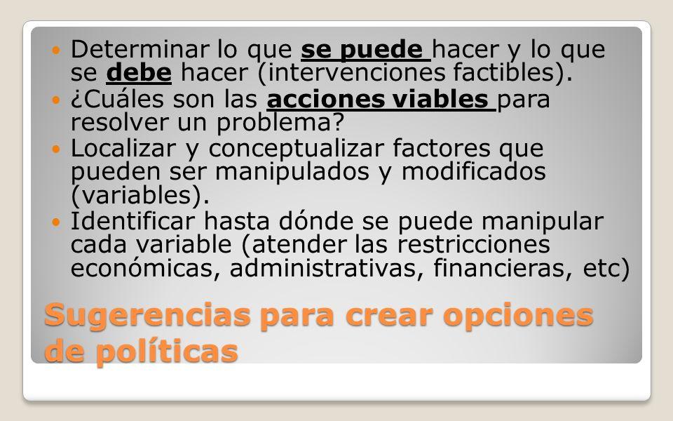 Sugerencias para crear opciones de políticas Determinar lo que se puede hacer y lo que se debe hacer (intervenciones factibles). ¿Cuáles son las accio