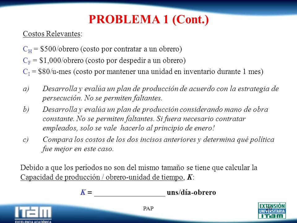 PAP19 PROBLEMA 1 Una empresa que produce drives para computadora desea determinar los niveles de mano de obra, producción e inventarios para el períod