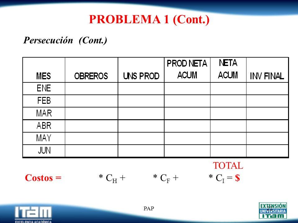 PAP21 PROBLEMA 1 (Cont.) a) Persecución TOTAL