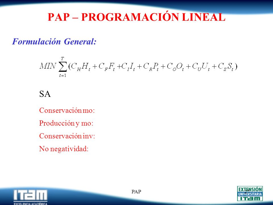 PAP26 PAP – PROGRAMACIÓN LINEAL Variables de Decisión: W t P t I t H t F t O t U t S t Cálculo de O t y U t : Si P t > Kn t W t O t = Si P t < Kn t W