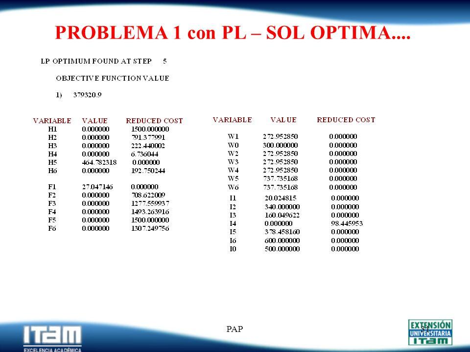 PAP30 PROBLEMA 1 con PL (LINDO).... MIN 500 H1 + 500 H2 + 500 H3 + 500 H4 + 500 H5 + 500 H6 + 1000 F1 + 1000 F2 + 1000 F3 + 1000 F4 + 1000 F5 + 1000 F