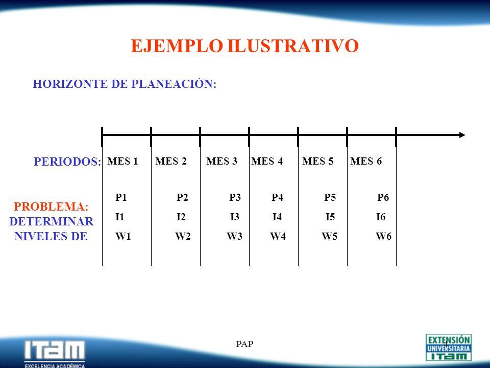 PAP3 OBJETIVOS DE LA PAP Sean: D 1, D 2,....., D T los pronósticos de demanda para cada uno de los t períodos de un horizonte de planeación T (donde: