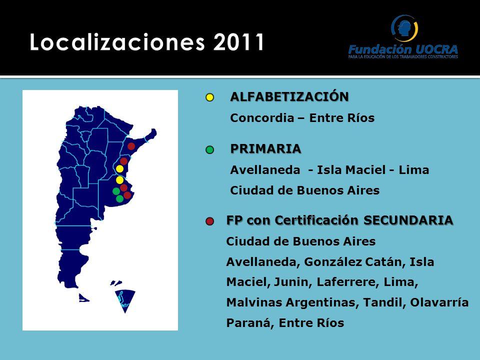 ALFABETIZACIÓN Concordia – Entre Ríos PRIMARIA Avellaneda - Isla Maciel - Lima Ciudad de Buenos Aires FP con Certificación SECUNDARIA Ciudad de Buenos