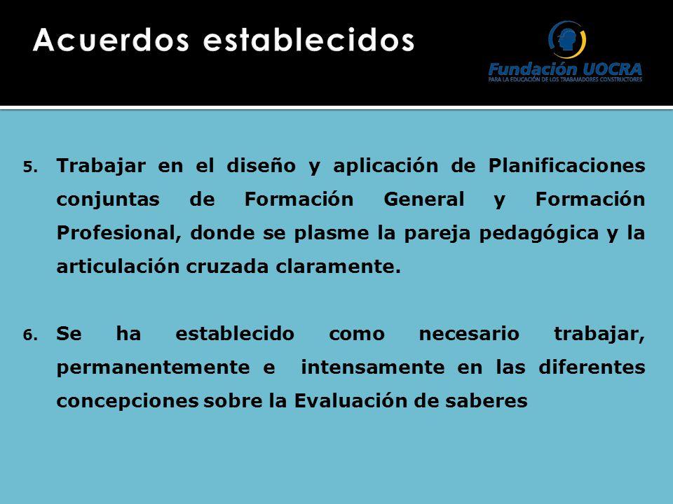 5. Trabajar en el diseño y aplicación de Planificaciones conjuntas de Formación General y Formación Profesional, donde se plasme la pareja pedagógica