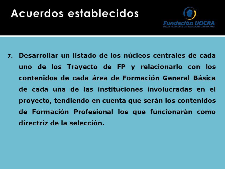 7. Desarrollar un listado de los núcleos centrales de cada uno de los Trayecto de FP y relacionarlo con los contenidos de cada área de Formación Gener