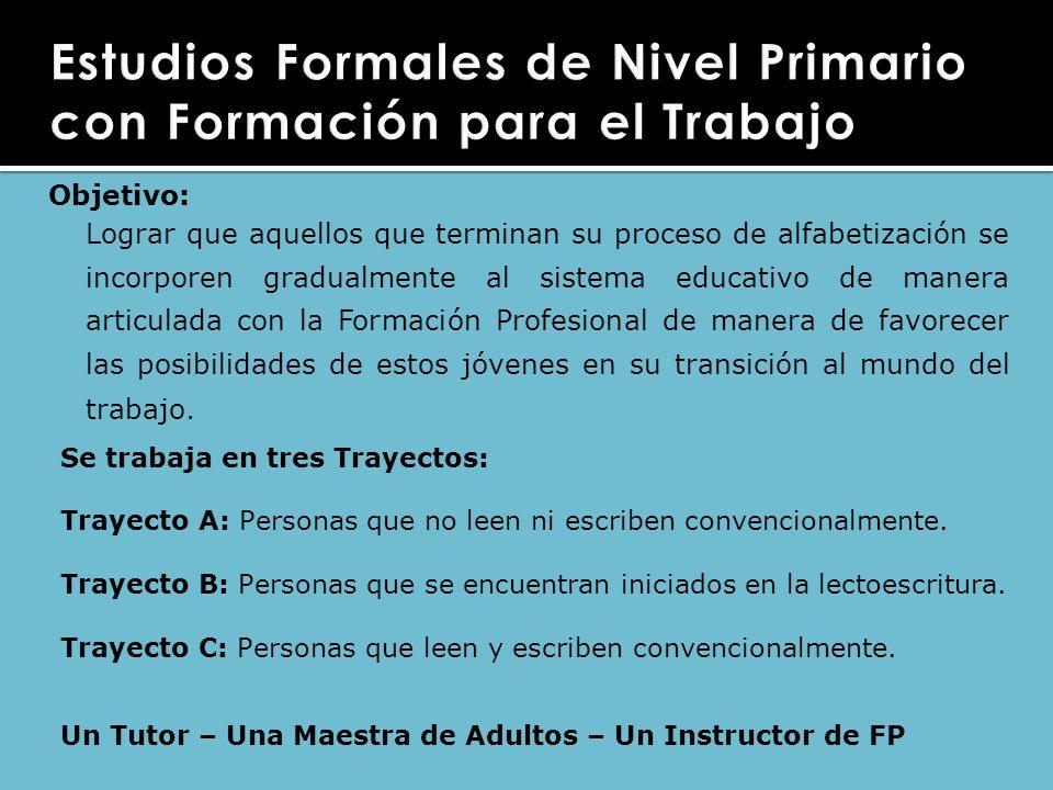 Objetivo: Lograr que aquellos que terminan su proceso de alfabetización se incorporen gradualmente al sistema educativo de manera articulada con la Fo