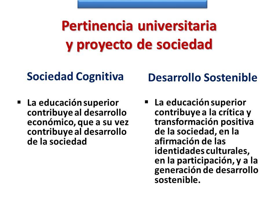 Pertinencia universitaria y proyecto de sociedad Sociedad Cognitiva La educación superior contribuye al desarrollo económico, que a su vez contribuye