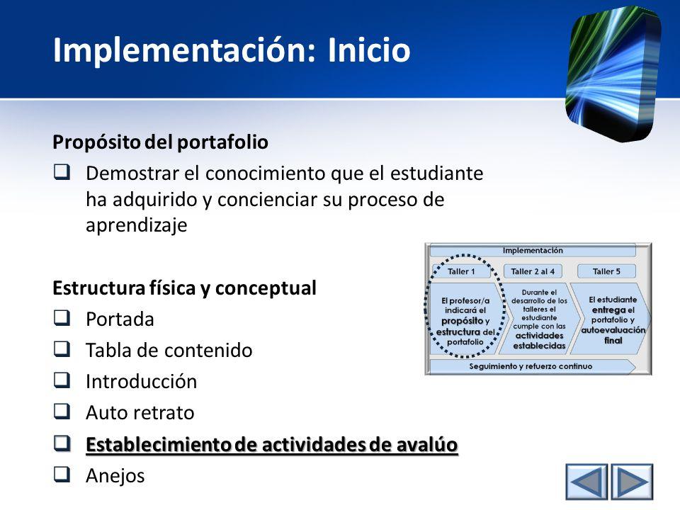 Implementación del portafolio Taller 1 propósito estructura El profesor/a indicará el propósito y estructura del portafolio actividades establecidas D