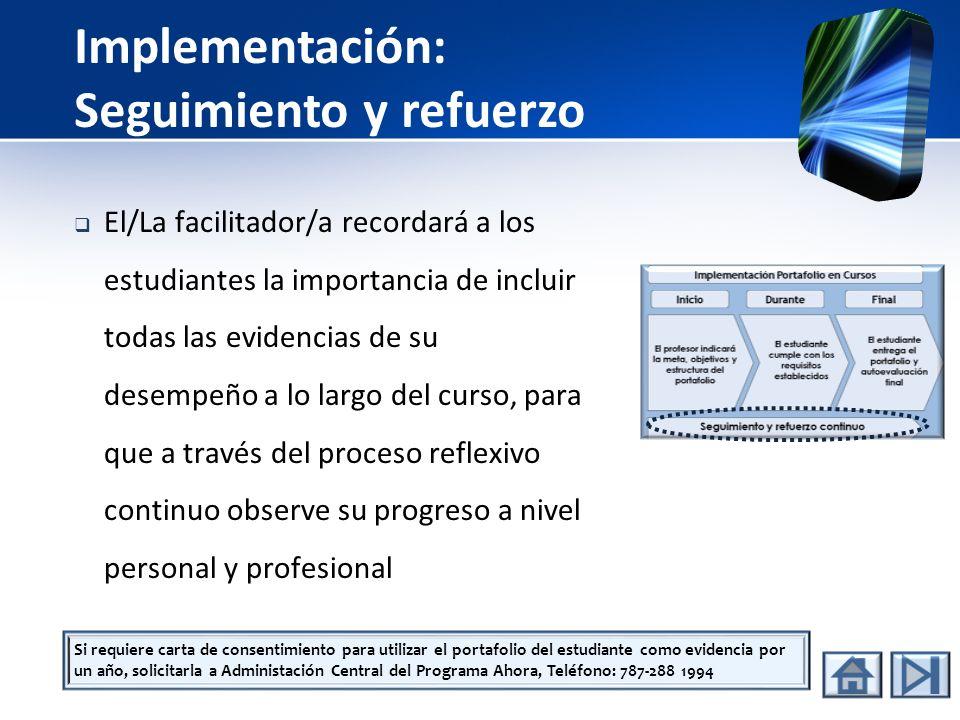 Entrega del Portafolio El estudiante entregará al Facilitador su portafolio de forma: Física, o Digital, (CD, flash memory, otro) El profesor evaluará