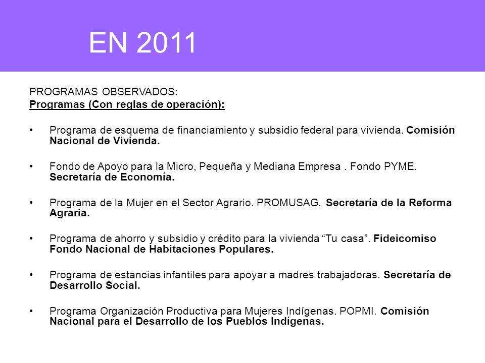 PROGRAMAS OBSERVADOS: Programas (Con reglas de operación): Programa de esquema de financiamiento y subsidio federal para vivienda. Comisión Nacional d