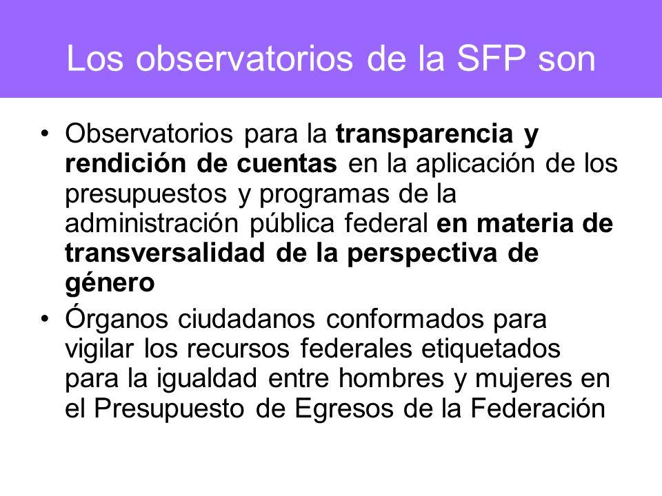 Los observatorios de la SFP son Observatorios para la transparencia y rendición de cuentas en la aplicación de los presupuestos y programas de la admi