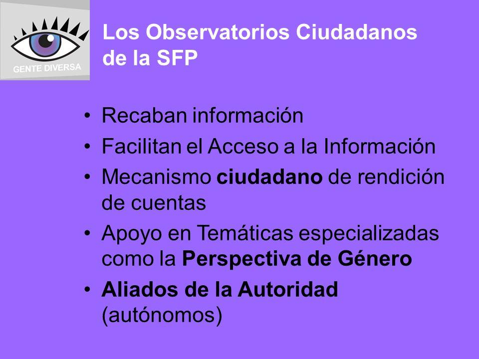 Los Observatorios Ciudadanos de la SFP Recaban información Facilitan el Acceso a la Información Mecanismo ciudadano de rendición de cuentas Apoyo en Temáticas especializadas como la Perspectiva de Género Aliados de la Autoridad (autónomos)