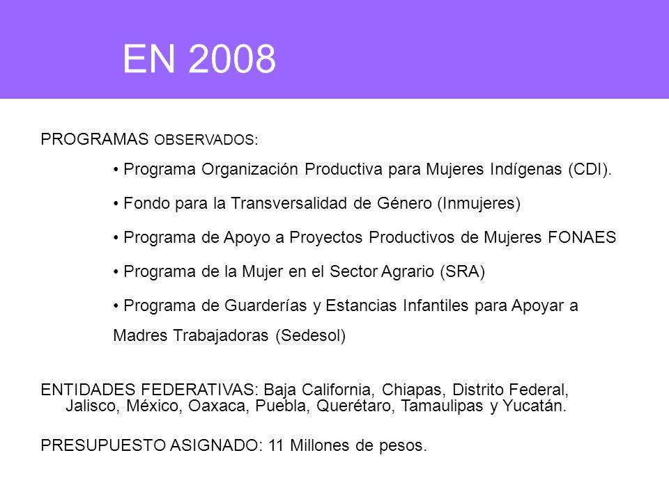 EN 2008 PROGRAMAS OBSERVADOS: Programa Organización Productiva para Mujeres Indígenas (CDI). Fondo para la Transversalidad de Género (Inmujeres) Progr