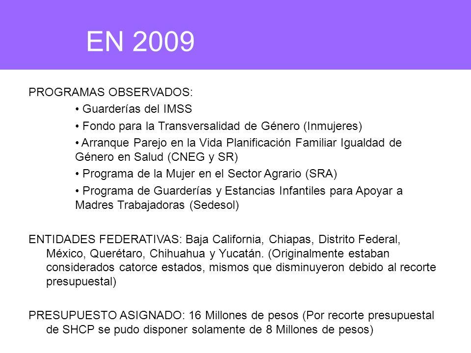 PROGRAMAS OBSERVADOS: Guarderías del IMSS Fondo para la Transversalidad de Género (Inmujeres) Arranque Parejo en la Vida Planificación Familiar Igualdad de Género en Salud (CNEG y SR) Programa de la Mujer en el Sector Agrario (SRA) Programa de Guarderías y Estancias Infantiles para Apoyar a Madres Trabajadoras (Sedesol) ENTIDADES FEDERATIVAS: Baja California, Chiapas, Distrito Federal, México, Querétaro, Chihuahua y Yucatán.