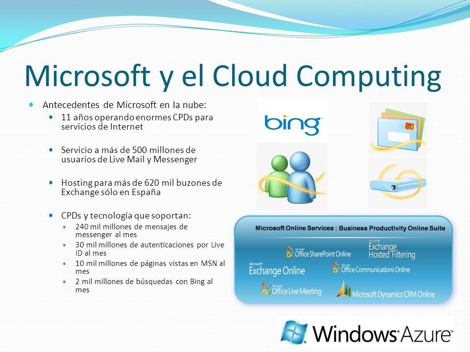Microsoft y el Cloud Computing Antecedentes de Microsoft en la nube: 11 años operando enormes CPDs para servicios de Internet Servicio a más de 500 mi