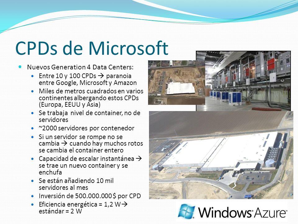 CPDs de Microsoft Nuevos Generation 4 Data Centers: Entre 10 y 100 CPDs paranoia entre Google, Microsoft y Amazon Miles de metros cuadrados en varios