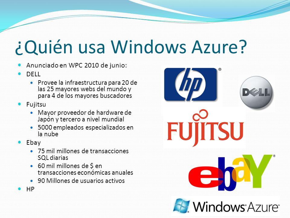 ¿Quién usa Windows Azure? Anunciado en WPC 2010 de junio: DELL Provee la infraestructura para 20 de las 25 mayores webs del mundo y para 4 de los mayo