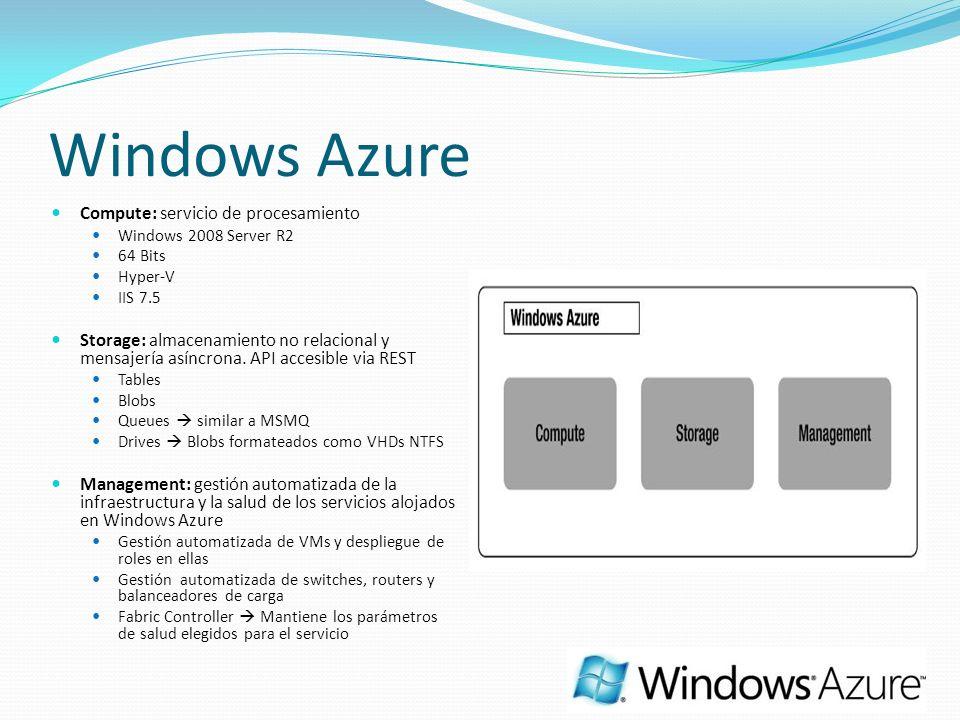 Windows Azure Compute: servicio de procesamiento Windows 2008 Server R2 64 Bits Hyper-V IIS 7.5 Storage: almacenamiento no relacional y mensajería asíncrona.