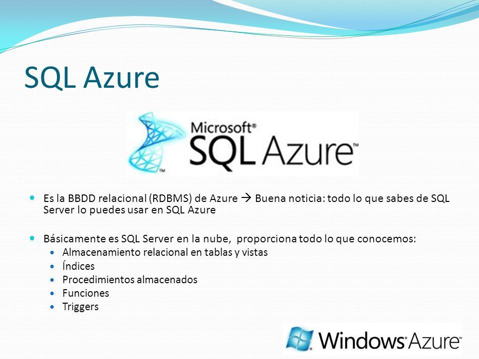 SQL Azure Es la BBDD relacional (RDBMS) de Azure Buena noticia: todo lo que sabes de SQL Server lo puedes usar en SQL Azure Básicamente es SQL Server en la nube, proporciona todo lo que conocemos: Almacenamiento relacional en tablas y vistas Índices Procedimientos almacenados Funciones Triggers